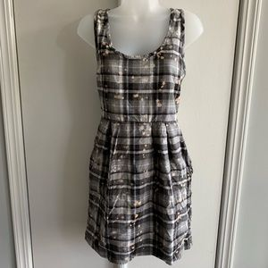 Silence + Noise Bleached Plaid Grunge Dress